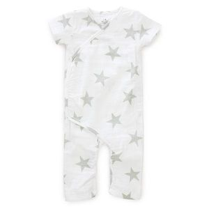 Aden + Anais grey and white star onesie